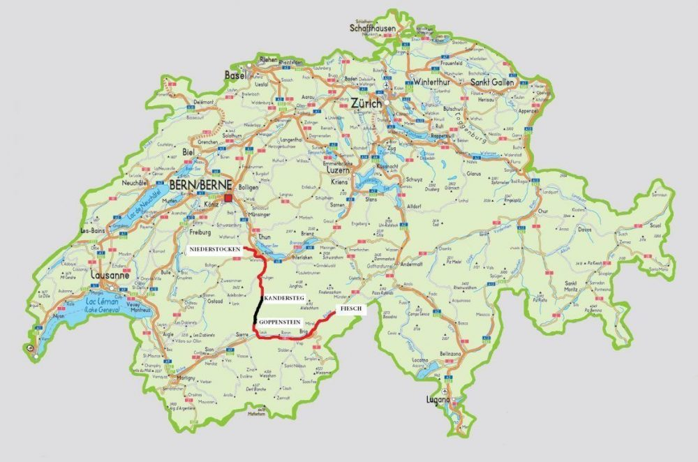 mapa Suiza