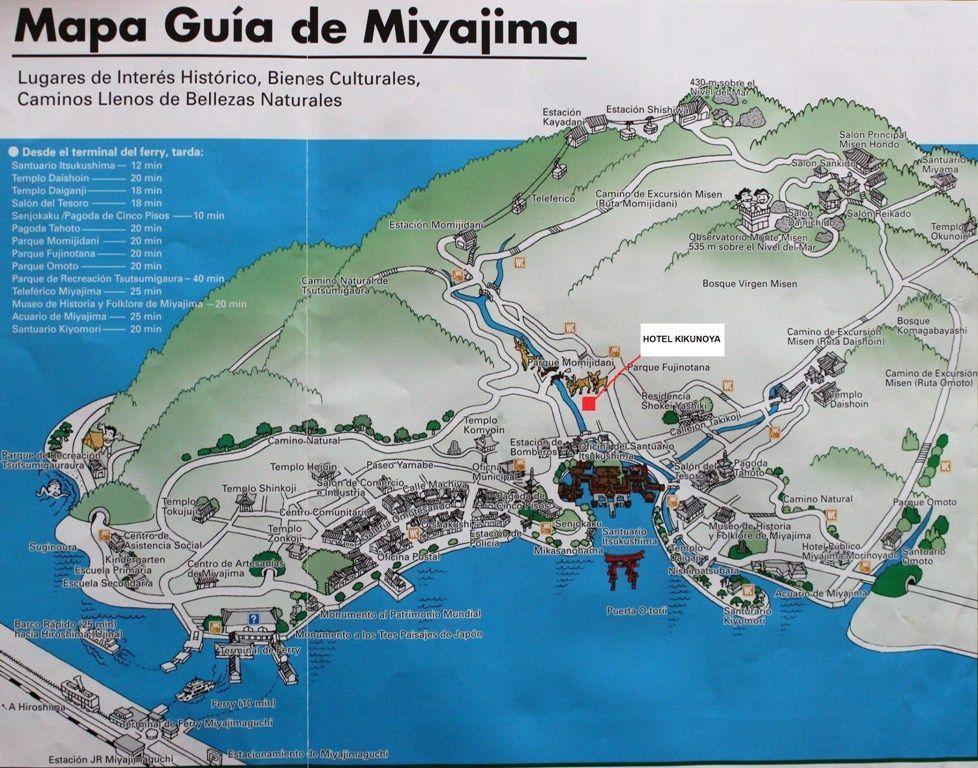 mapa de la Isla de Miyajima, Japón