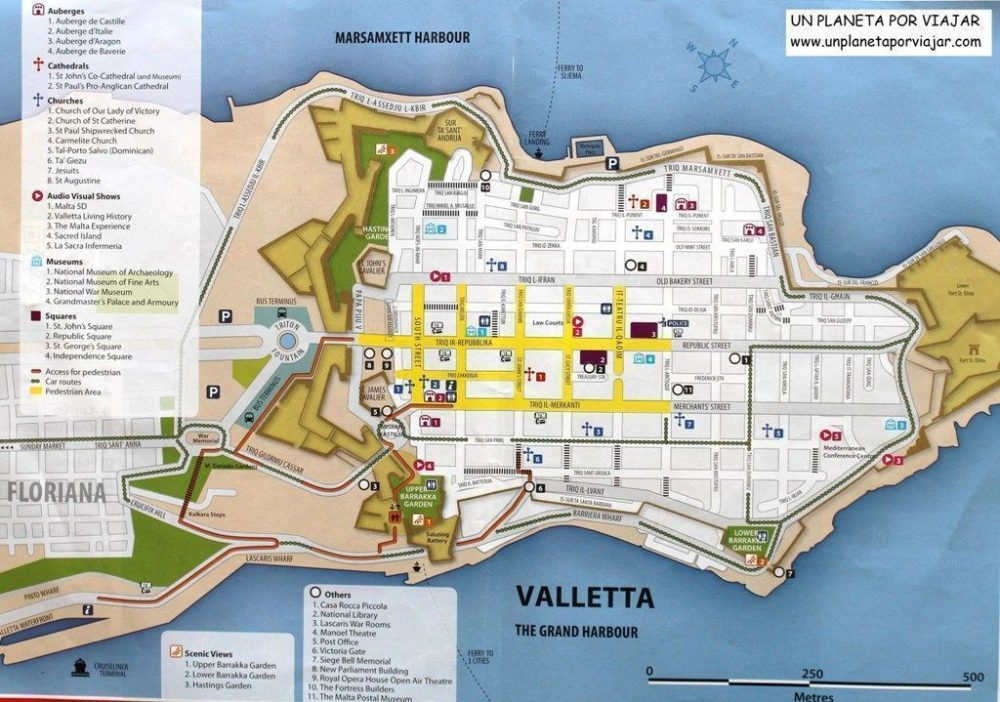 Mapa de La Valeta